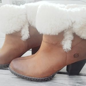 Born Dona Shearling Cuffed Leather Ankle Boots